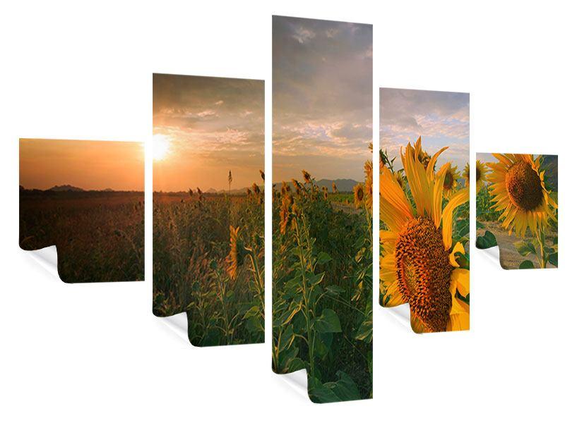 Poster 5-teilig Sonnenblumen im Lichtspiel
