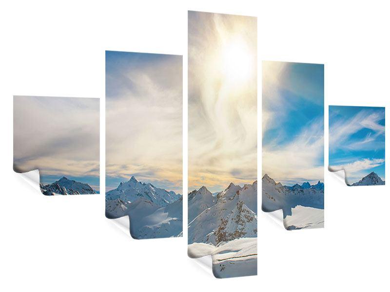 Poster 5-teilig Über den verschneiten Gipfeln