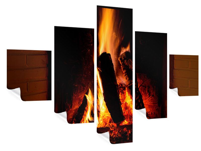 Poster 5-teilig Feuer im Kamin
