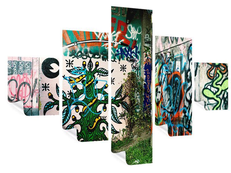Poster 5-teilig Graffiti im Hinterhof