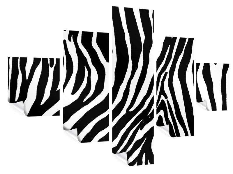 Poster 5-teilig Zebramuster