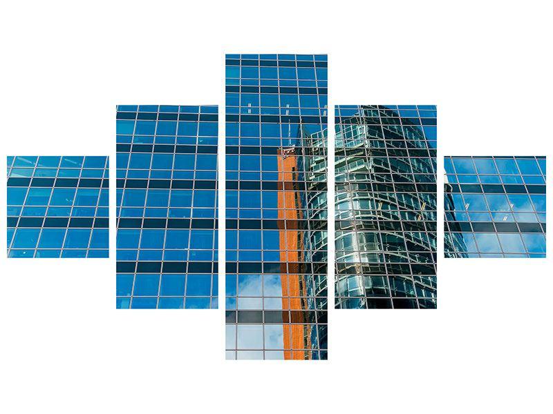 Poster 5-teilig Wolkenkratzer-Spiegel