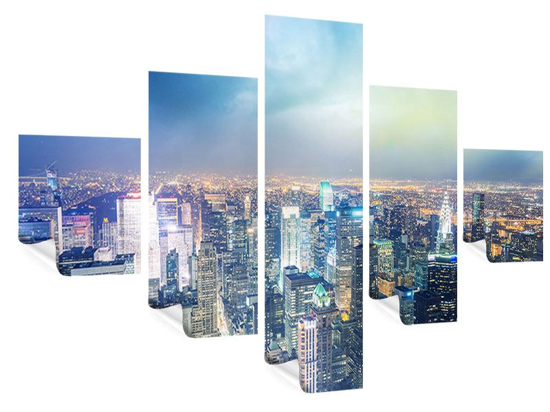 Poster 5-teilig Skyline NY bei Sonnenuntergang