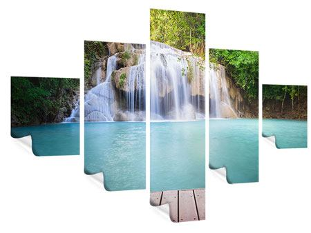 Poster 5-teilig Terrasse am Wasserfall