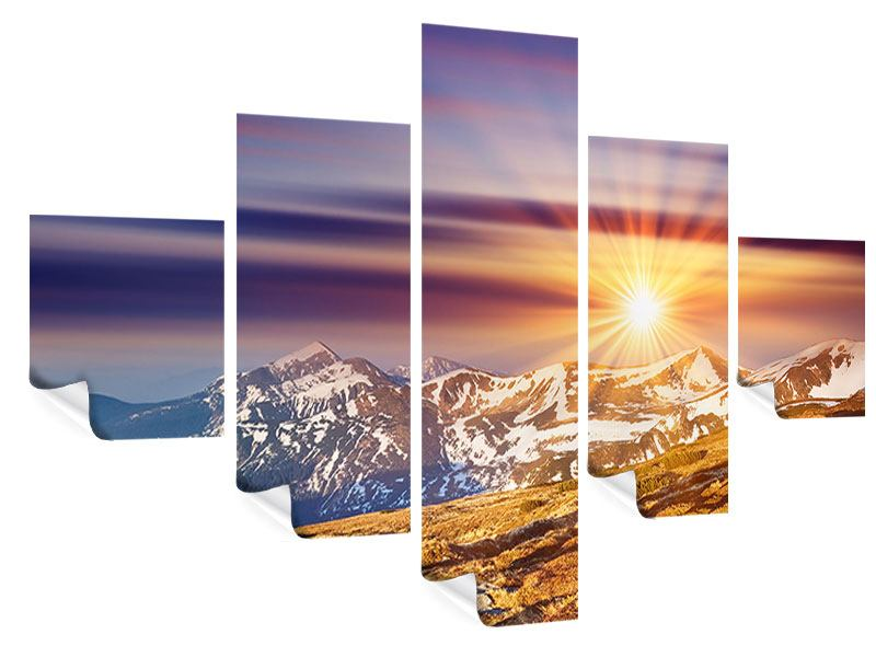 Poster 5-teilig Majestätischer Sonnuntergang am Berggipfel
