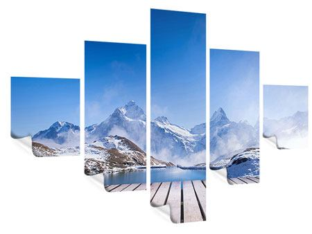 Poster 5-teilig Sonnenterrasse am Schweizer Bergsee