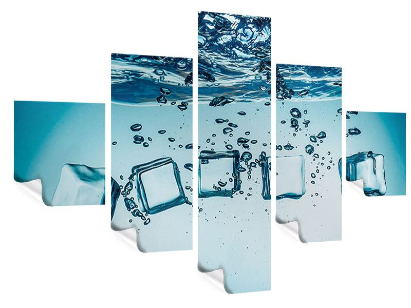 Poster 5-teilig Eiswürfel-Quadro
