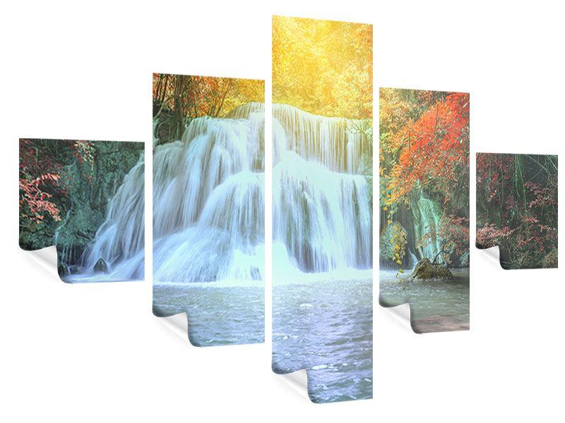 Poster 5-teilig Wasserfall im Licht