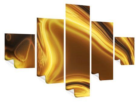 Poster 5-teilig Abstrakt Flüssiges Gold