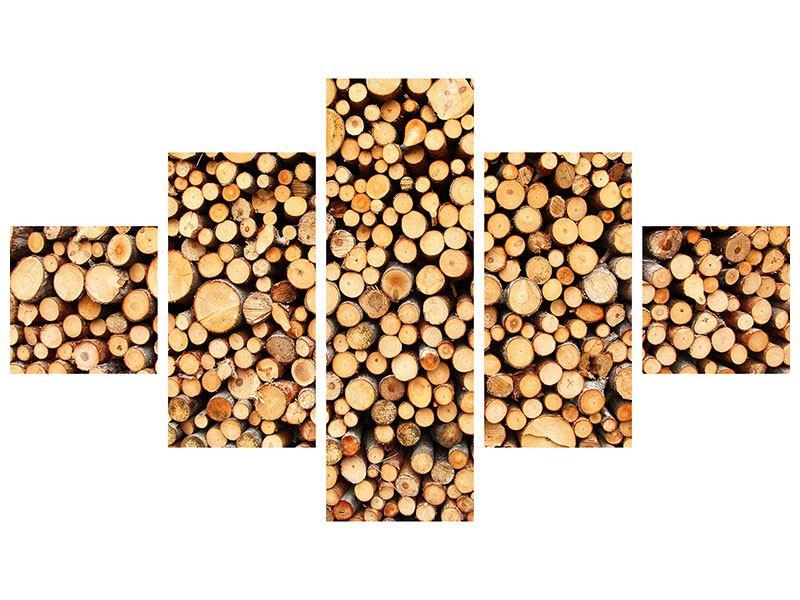 Poster 5-teilig Holzstämme