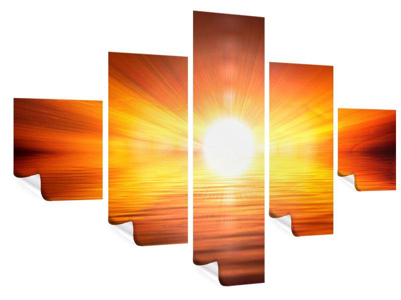 Poster 5-teilig Glühender Sonnenuntergang
