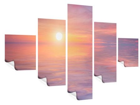 Poster 5-teilig Sonnenuntergang auf See