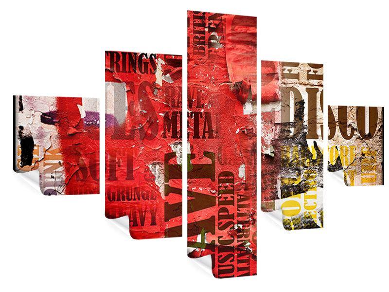 Poster 5-teilig Musiktext im Grungestil