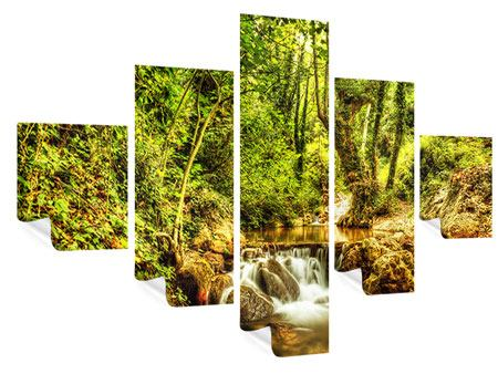 5 Piece Poster Waterfall In The Forest