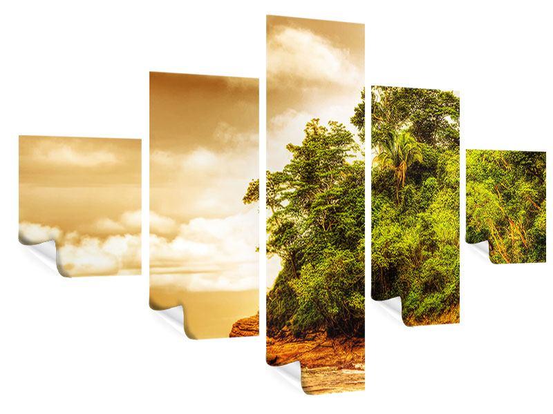 Poster 5-teilig Sonnenuntergang am Ende des Waldes