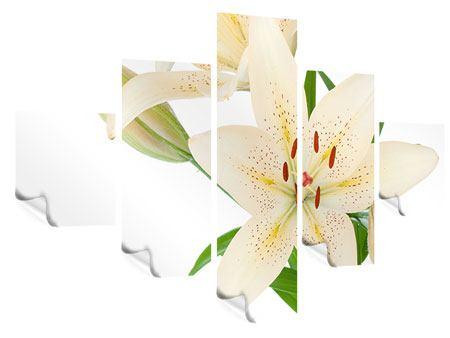 Poster 5-teilig Weisser Lilienstrauch