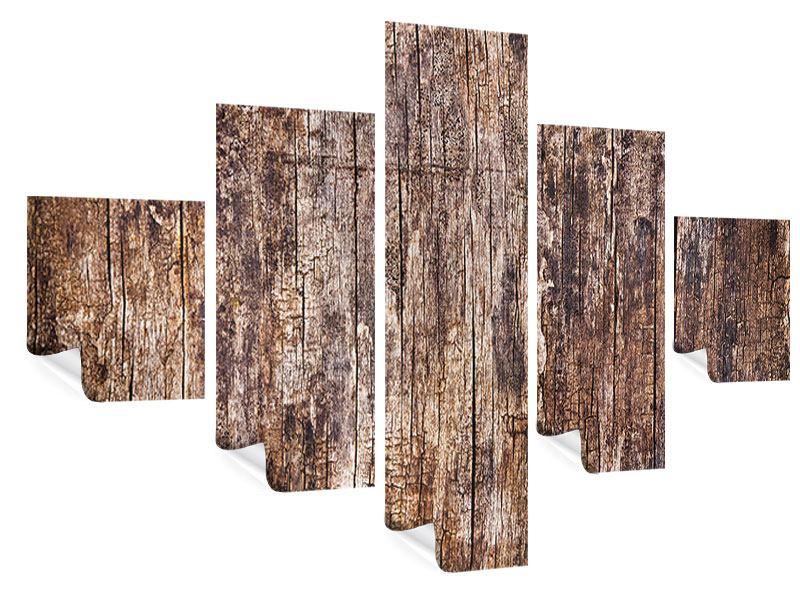 Poster 5-teilig Retro-Holz