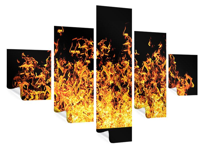 Poster 5-teilig Moderne Feuerwand