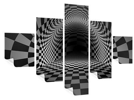 Poster 5-teilig Abstraktes Schachbrett