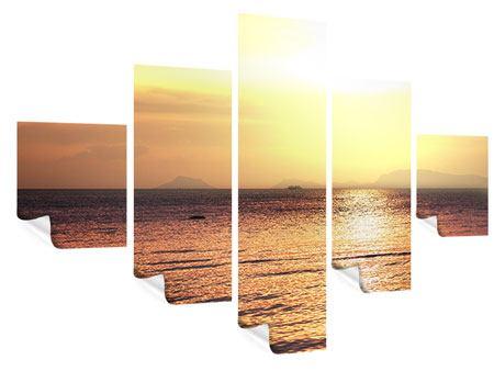 Poster 5-teilig Sonnenuntergang an der See