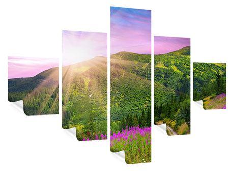 Poster 5-teilig Eine Sommerlandschaft bei Sonnenaufgang