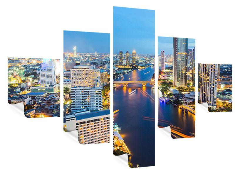 Poster 5-teilig Skyline Bangkok bei Sonnenuntergang