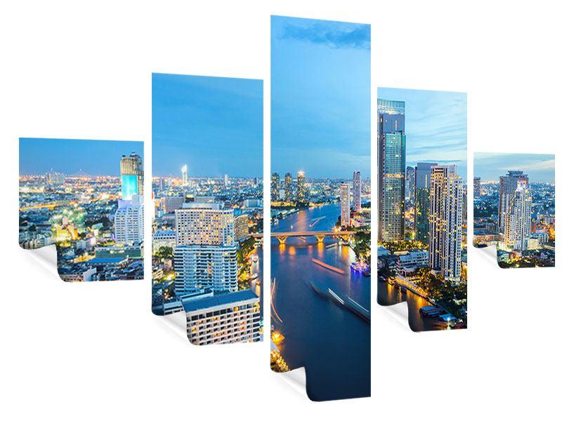 Poster 5-teilig Skyline Bangkok in der Abenddämmerung
