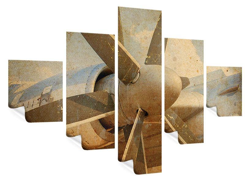 Poster 5-teilig Propellerflugzeug im Grungestil