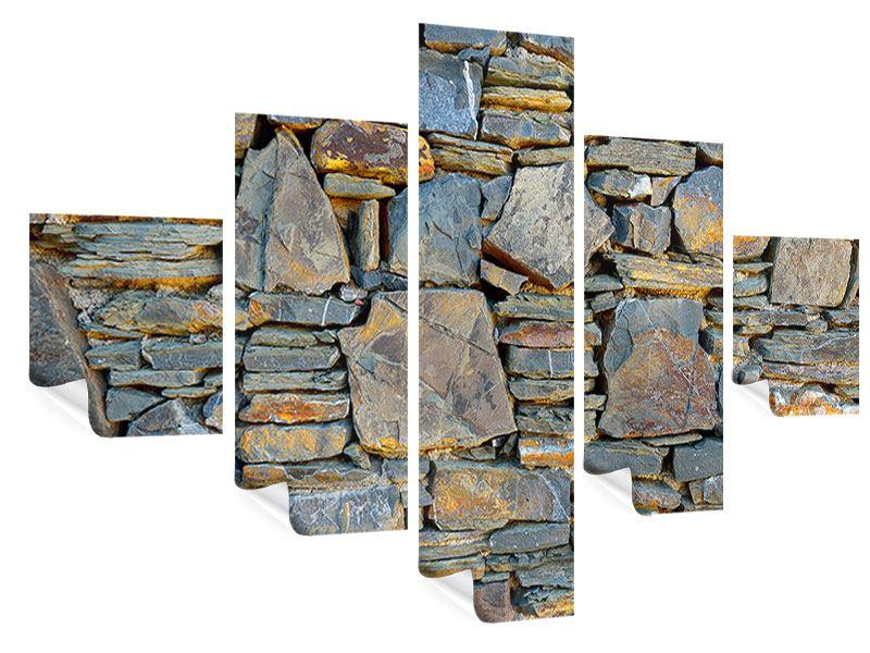 Poster 5-teilig Natürliche Steinmauer