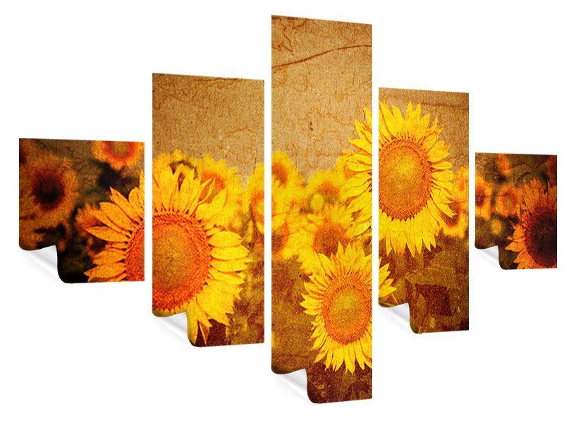 Poster 5-teilig Retro-Sonnenblumen
