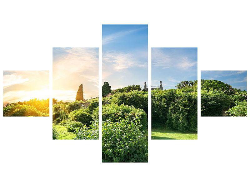 Poster 5-teilig Sonnenaufgang im Park