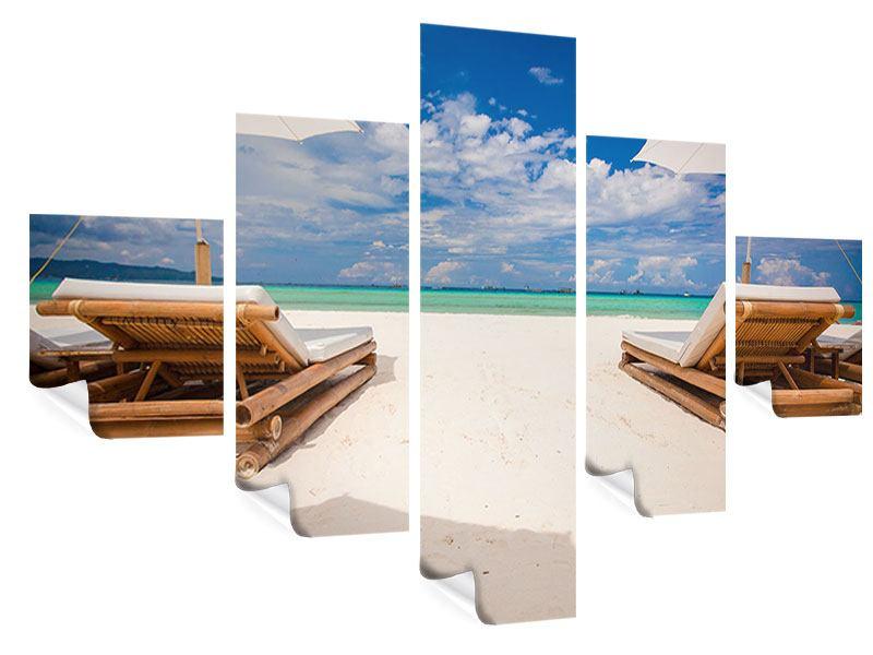 Poster 5-teilig Liegen am Strand