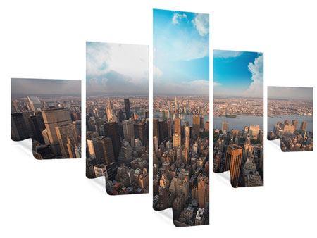 Poster 5-teilig Skyline Über den Dächern von Manhattan