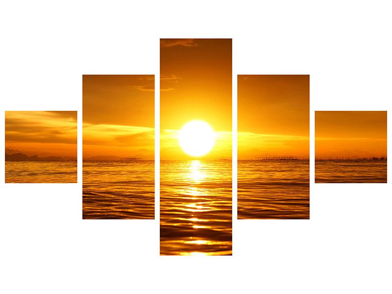 Poster 5-teilig Glühender Sonnenuntergang am Wasser