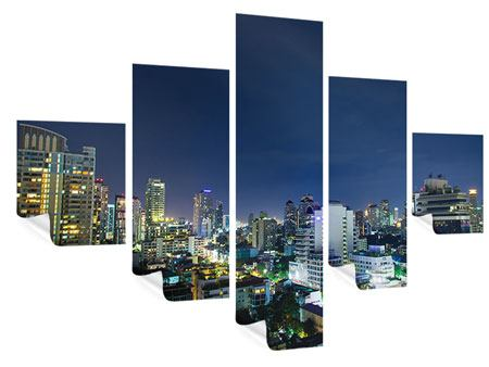 Poster 5-teilig Skyline Nachts in Bangkok