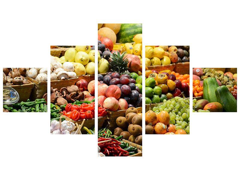 Poster 5-teilig Obstmarkt