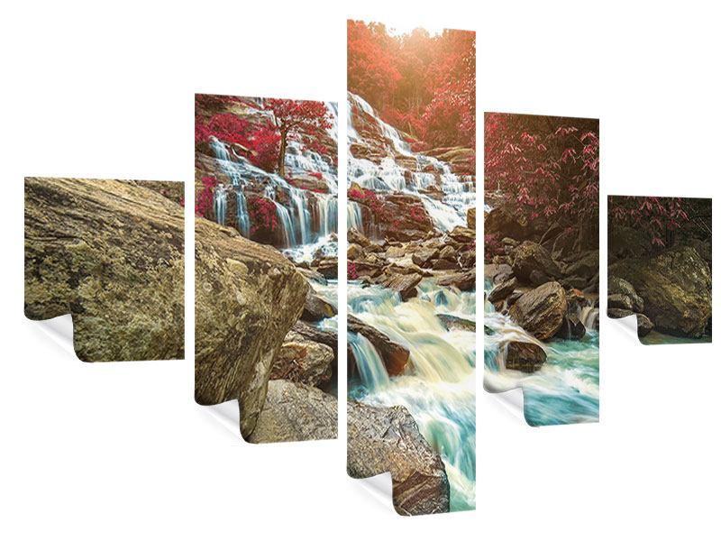 Poster 5-teilig Exotischer Wasserfall