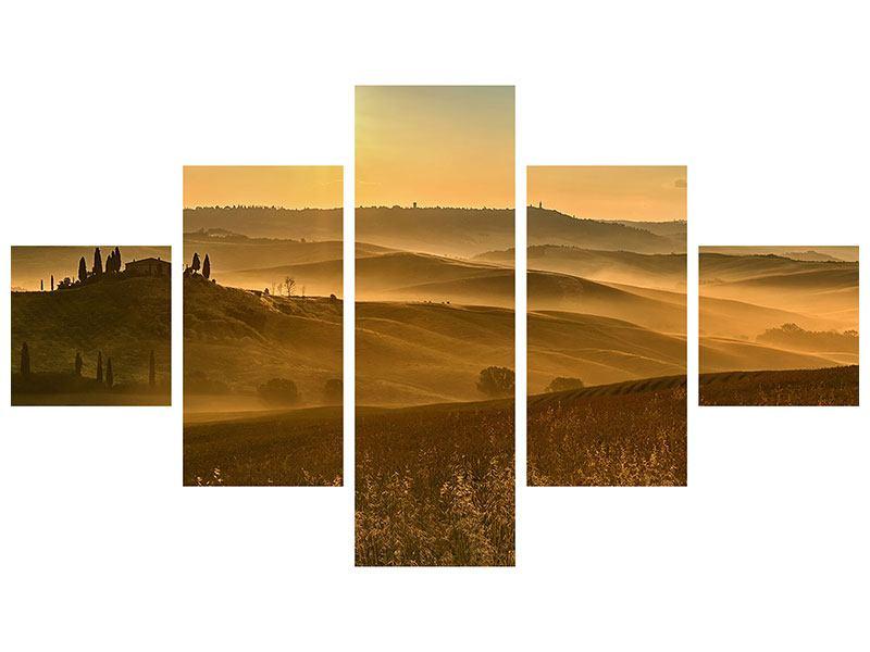 Poster 5-teilig Sonnenuntergang im Gebirge