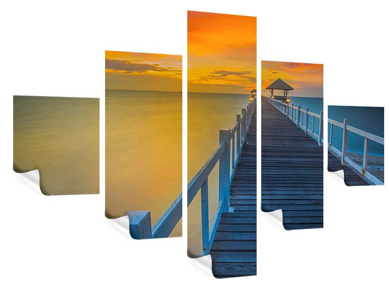 Poster 5-teilig Eine Holzbrücke im fernen Osten