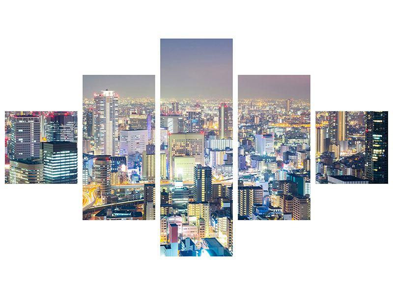 Poster 5-teilig Skyline Osaka bei Sonnenuntergang