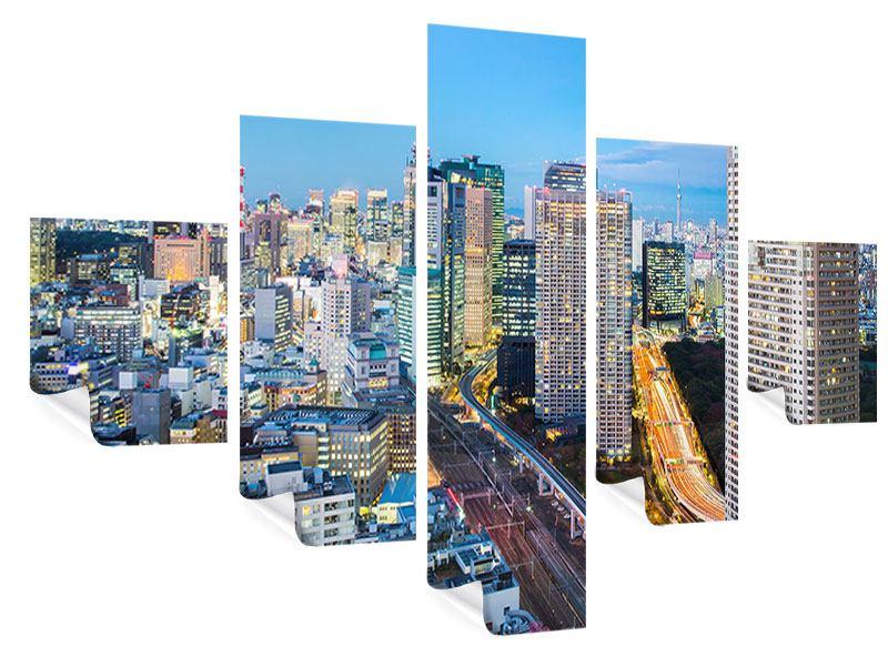 Poster 5-teilig Skyline Tokio im Lichtermeer