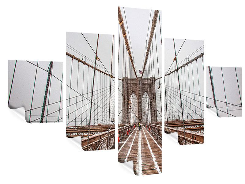 Poster 5-teilig Auf der Brooklyn Bridge