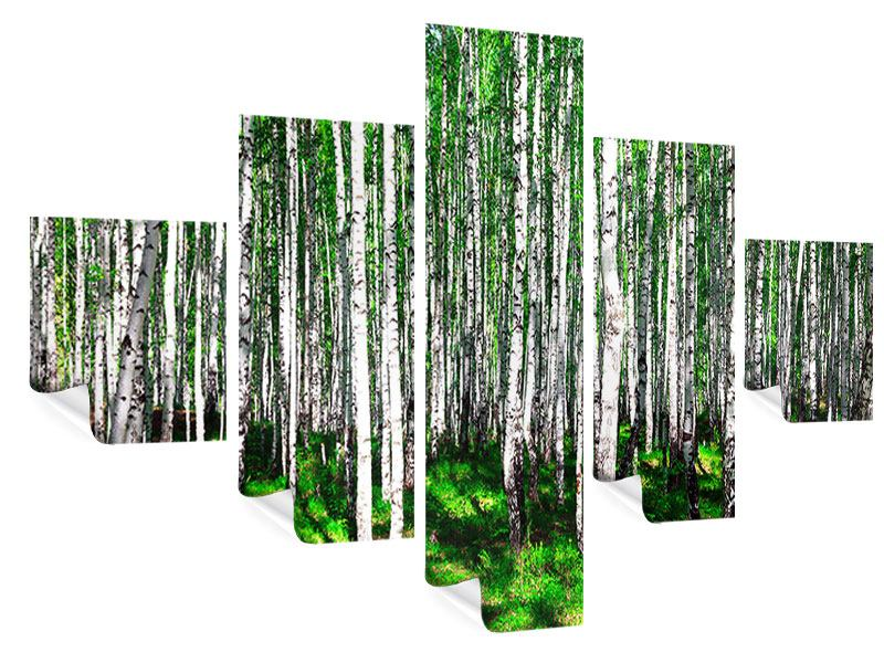 Poster 5-teilig Sommerlicher Birkenwald