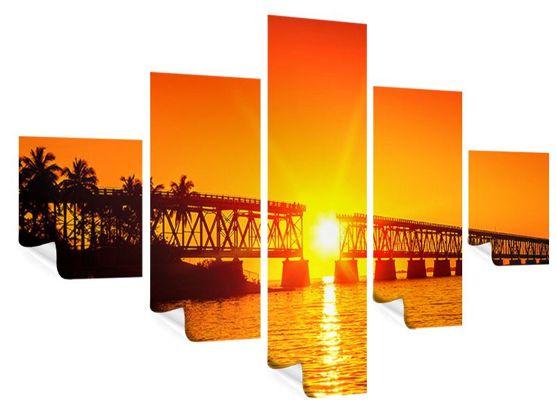 Poster 5-teilig Sonnenuntergang an der Brücke