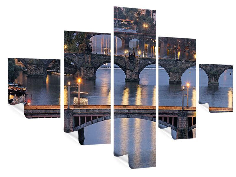 Poster 5-teilig Brücken in Prag