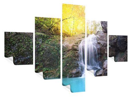 Poster 5-teilig Fliessender Wasserfall