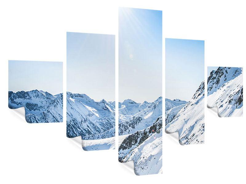 Poster 5-teilig Bergpanorama im Schnee