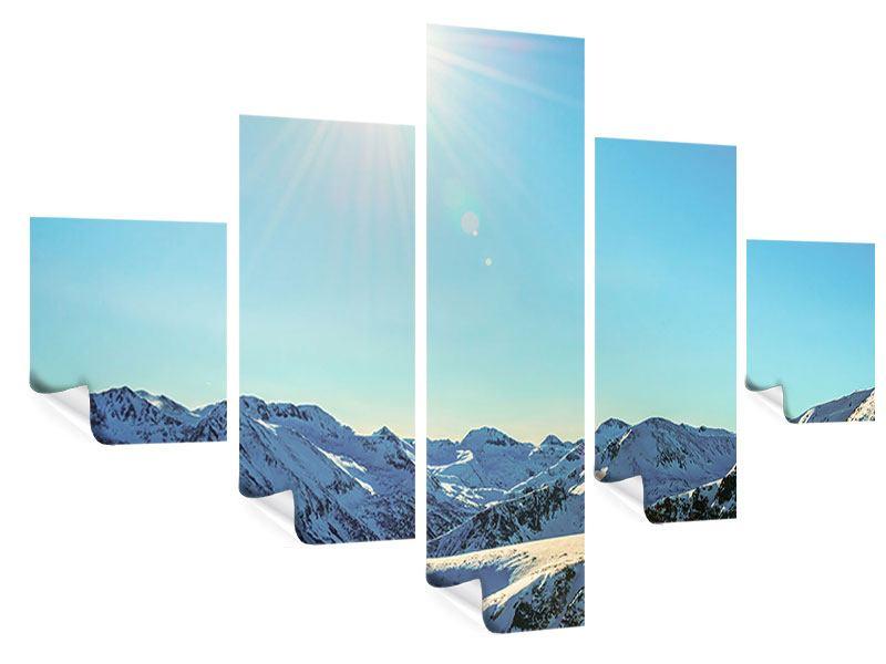Poster 5-teilig Sonnige Berggipfel im Schnee