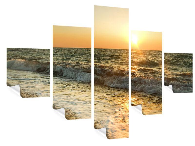 Poster 5-teilig Sonnenuntergang am Meer