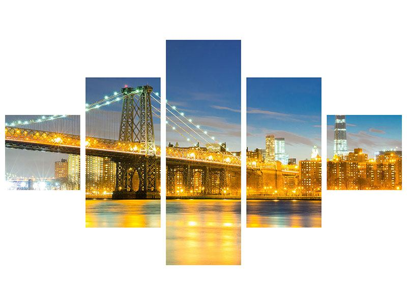 Poster 5-teilig Brooklyn Bridge bei Nacht